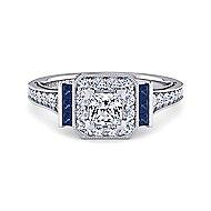 Platinum Princess Cut Halo Engagement Ring angle 1