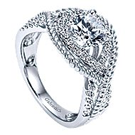 Platinum Round Free Form Engagement Ring angle 3