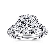 Platinum Round Halo Engagement Ring angle 5