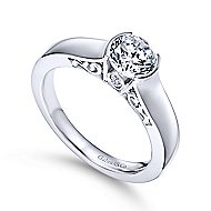 Platinum Round Solitaire Engagement Ring angle 3
