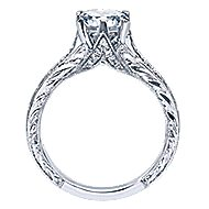 Platinum Round Straight Engagement Ring angle 2