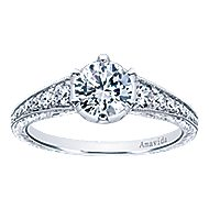 Platinum Round Straight Engagement Ring angle 5