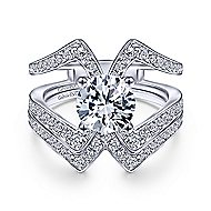 Pomona 14k White Gold Round Split Shank Engagement Ring