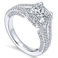Porto 14k White Gold Princess Cut Halo Engagement Ring angle 3