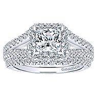 Porto 14k White Gold Princess Cut Halo Engagement Ring angle 4