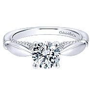 Posy 14k White Gold Round Straight Engagement Ring angle 1