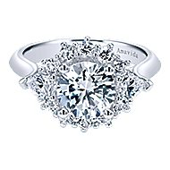 Preeti 18k White Gold Round Halo Engagement Ring angle 1