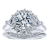 Preeti 18k White Gold Round Halo Engagement Ring angle 4