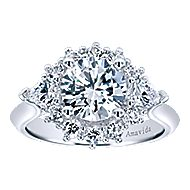 Preeti 18k White Gold Round Halo Engagement Ring angle 5