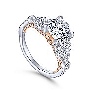 Prime 18k White And Rose Gold Round Twisted Engagement Ring