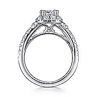 Priscilla 14k White Gold Cushion Cut Halo Engagement Ring angle 2