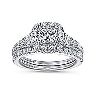 Priscilla 14k White Gold Cushion Cut Halo Engagement Ring angle 4