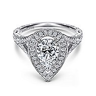 Prudence 14k White Gold Pear Shape Halo Engagement Ring angle 1