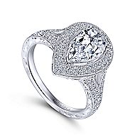 Prudence 14k White Gold Pear Shape Halo Engagement Ring angle 3