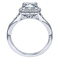 Pure 18k White Gold Round Halo Engagement Ring angle 2