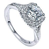 Pure 18k White Gold Round Halo Engagement Ring