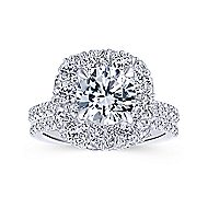 Quincy 18k White Gold Round Halo Engagement Ring angle 4