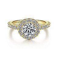 Rachel 14k Yellow Gold Round Halo Engagement Ring angle 1