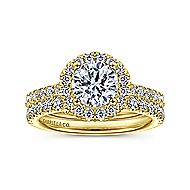 Rachel 14k Yellow Gold Round Halo Engagement Ring angle 4