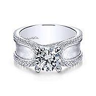 Randi 14k White Gold Round Straight Engagement Ring angle 1