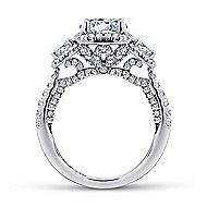Raya 18k White Gold Round 3 Stones Halo Engagement Ring angle 2