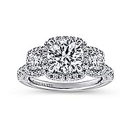 Raya 18k White Gold Round 3 Stones Halo Engagement Ring angle 5