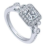Reade 14k White Gold Princess Cut Halo Engagement Ring angle 3