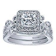 Reade 14k White Gold Princess Cut Halo Engagement Ring angle 4