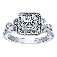 Reade 14k White Gold Princess Cut Halo Engagement Ring angle 5