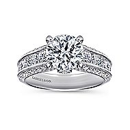 Rebecca 14k White Gold Round Straight Engagement Ring angle 5