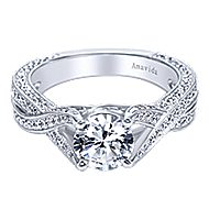 Reflect 18k White Gold Round Twisted Engagement Ring angle 1