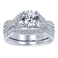 Reflect 18k White Gold Round Twisted Engagement Ring angle 4