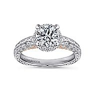 Regina 14k White And Rose Gold Round Straight Engagement Ring angle 5