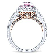 Reign 14k White And Rose Gold Oval Double Halo Engagement Ring