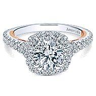Reina 18k White And Rose Gold Round Halo Engagement Ring angle 1