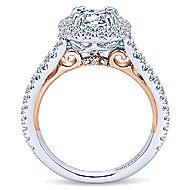 Reina 18k White And Rose Gold Round Halo Engagement Ring angle 2