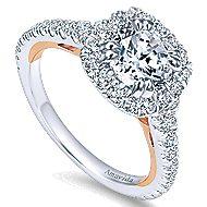 Reina 18k White And Rose Gold Round Halo Engagement Ring angle 3