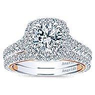 Reina 18k White And Rose Gold Round Halo Engagement Ring angle 4