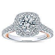 Reina 18k White And Rose Gold Round Halo Engagement Ring angle 5