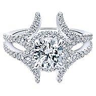 Rhea 14k White Gold Round Halo Engagement Ring angle 1