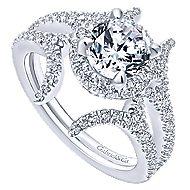 Rhea 14k White Gold Round Halo Engagement Ring angle 3