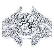Rhea 14k White Gold Round Halo Engagement Ring angle 4