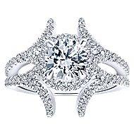Rhea 14k White Gold Round Halo Engagement Ring angle 5