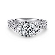Riviera 14k White Gold Cushion Cut Halo Engagement Ring angle 1