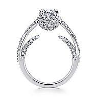Riviera 14k White Gold Cushion Cut Halo Engagement Ring angle 2