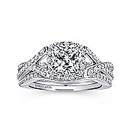 Riviera 14k White Gold Cushion Cut Halo Engagement Ring angle 4