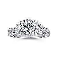 Riviera 14k White Gold Cushion Cut Halo Engagement Ring angle 5