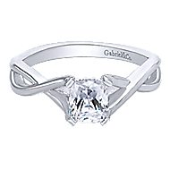 Robin 14k White Gold Cushion Cut Solitaire Engagement Ring angle 1