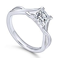 Robin 14k White Gold Princess Cut Solitaire Engagement Ring angle 3