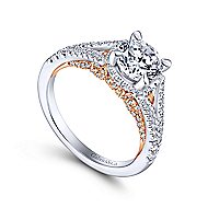 Rochelle 14k White And Rose Gold Round Split Shank Engagement Ring angle 3